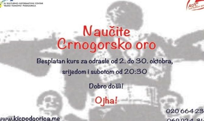 "KIC organizuje besplatan kurs ""Crnogorsko oro"""