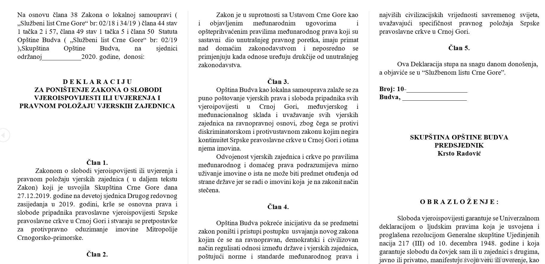 Carević traži vanrednu sjednicu SO i poništenje Zakona o slobodi vjeroispovijesti