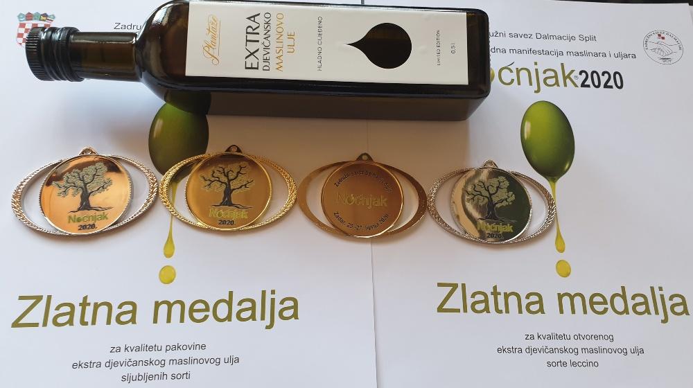 Zlatna medalja za kvalitet maslinovog ulja Plantaža