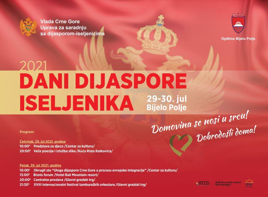Dani dijaspore-iseljenika u četvrtak i petak u Bijelom Polju