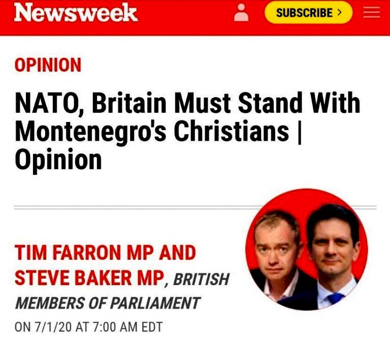 Dva britanska poslanika: NATO da podrži Amfilohija i opoziciju koju on kontroliše, a London da ih finansira!