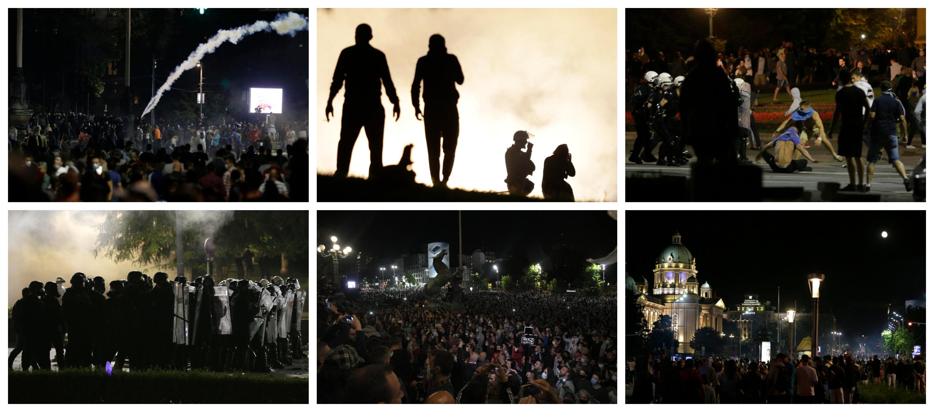 Haos u Beogradu: Zapaljena policijska vozila, incidenti ne prestaju, ima povrijeđenih