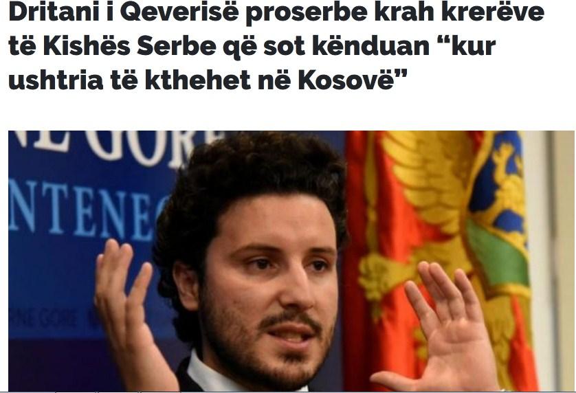 Gazeta Express: Dritan iz prosrpske Vlade rame uz rame sa vođama Crkve Srbije koji su pjevali - Kad se vojska na Kosovo vrati