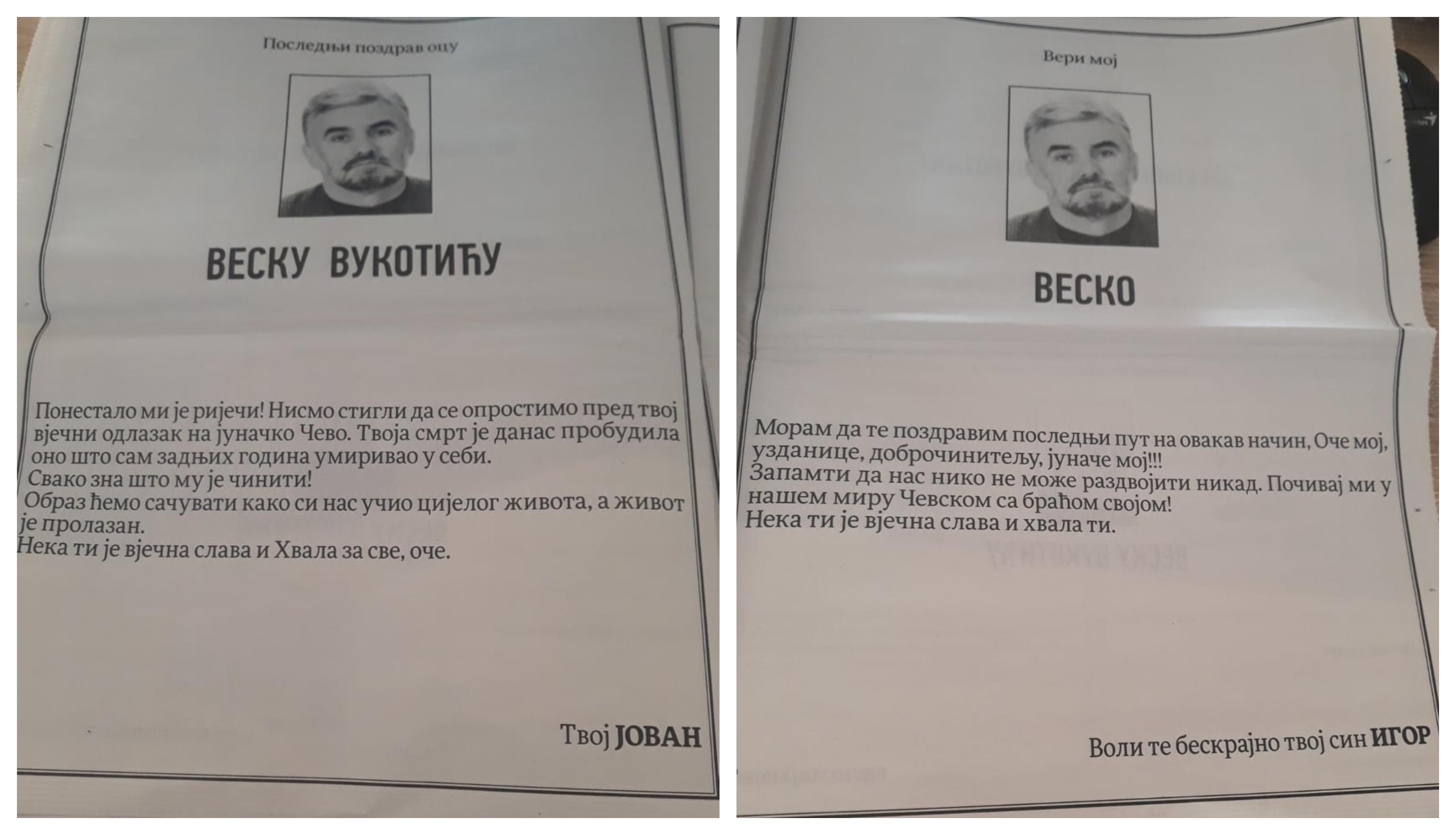 """Vođe škaljarskog klana se čituljom oprostili od oca:"""" Svako zna što mu je činiti"""""""
