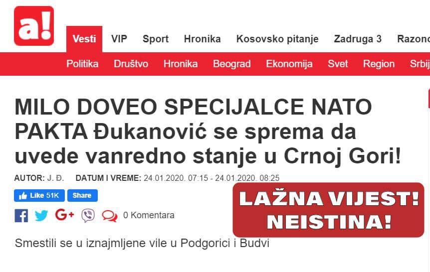 MO: Još jedna lažna vijest, nema NATO specijalaca u Crnoj Gori