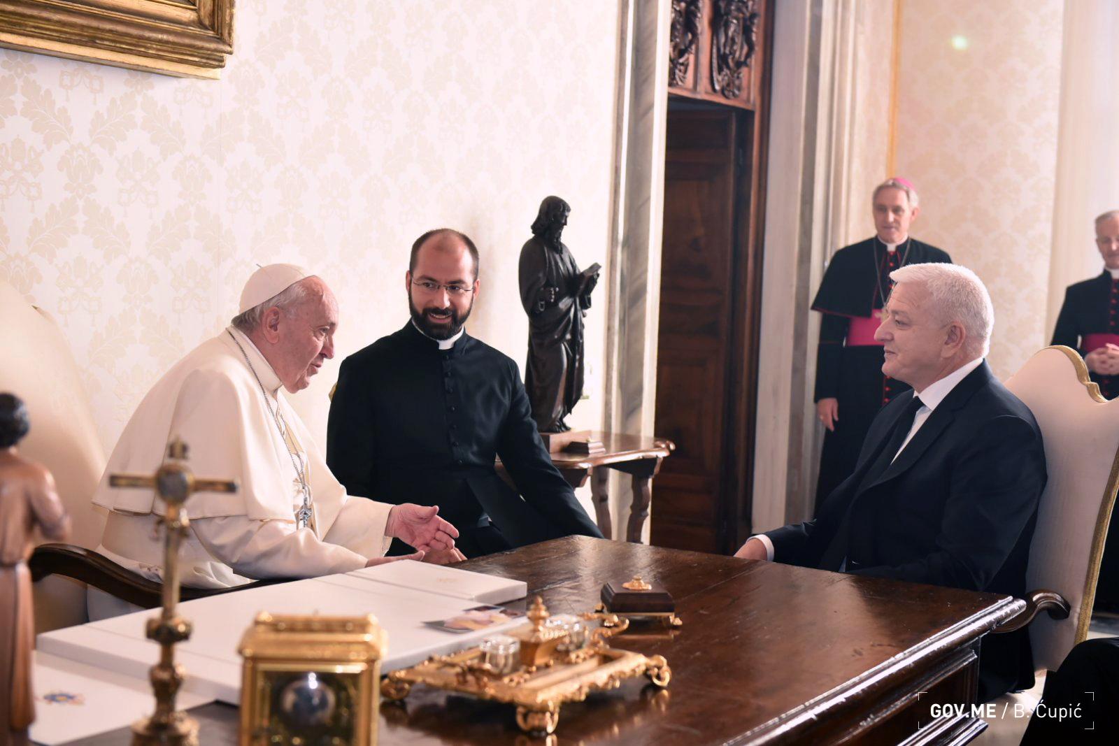 Marković: Papa prepoznaje doprinos Crne Gore globalnim inicijativama mira