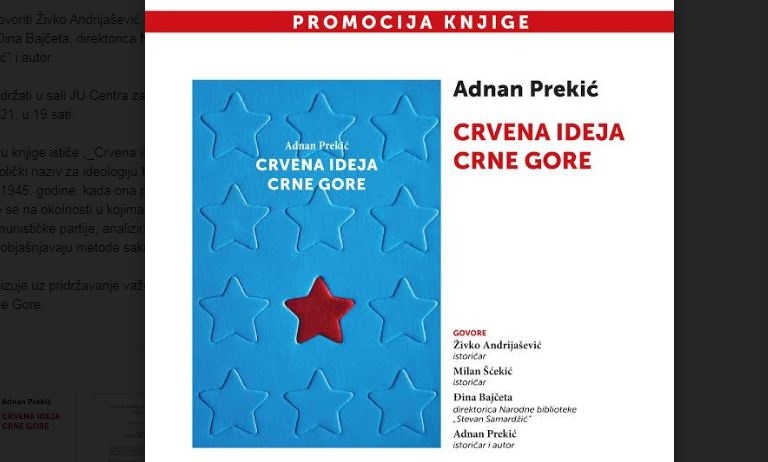 Promocija knjige  Adnana Prekića ''Crvena ideja Crne Gore'' u Pljevljima