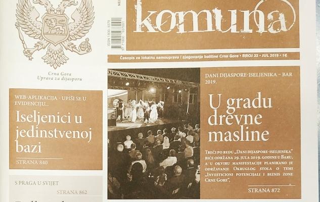 """Nova """"Komuna"""" posvećena crnogorskoj dijaspori"""