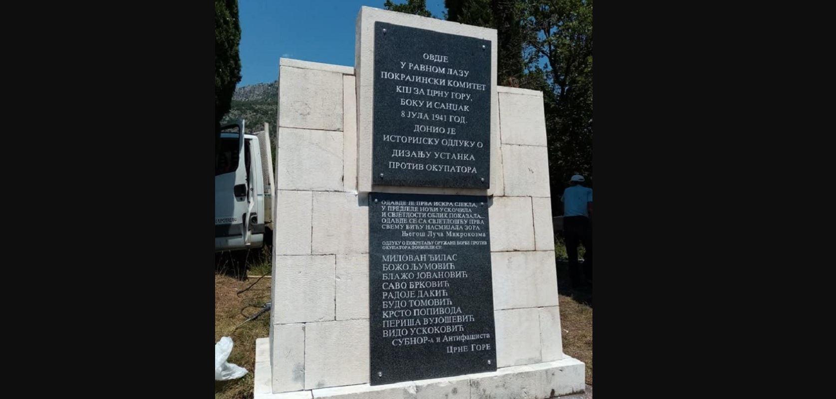 Obnovljene ploče na spomeniku na Ravnom lazu