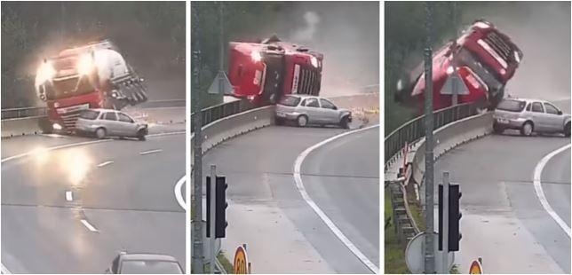 Jeziv snimak nesreće: Kamion pao s nadvožnjaka u provaliju, vozač poginuo