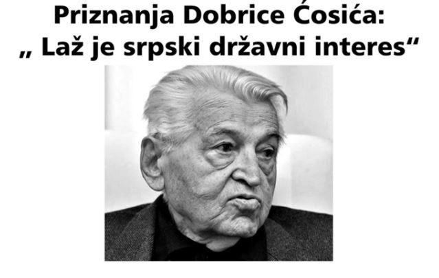 U više crnogorskih gradova osvanuli plakati sa tekstom Dobrice Ćosića: Laž je srpski državni interes