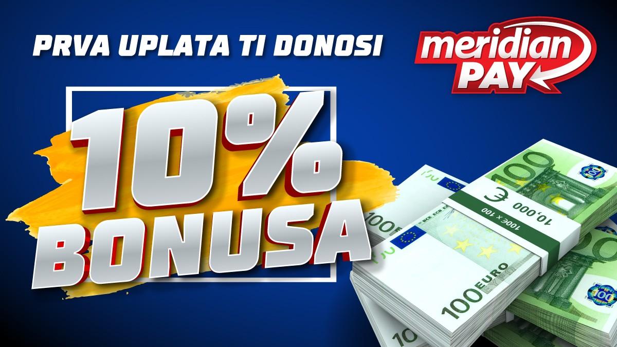 Praznično raspoloženje se nastavlja – 10% bonusa na prvu uplatu putem MeridianPay-a