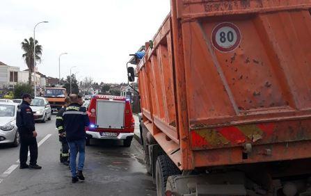 Tivat: Gorjelo teretno vozilo