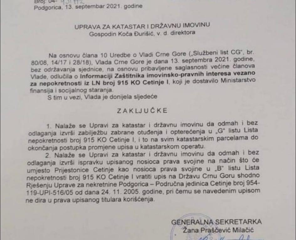 Vlada naložila Upravi za katastar da se Prijestonici oduzme pravo svojine nad Cetinjskim manastirom!
