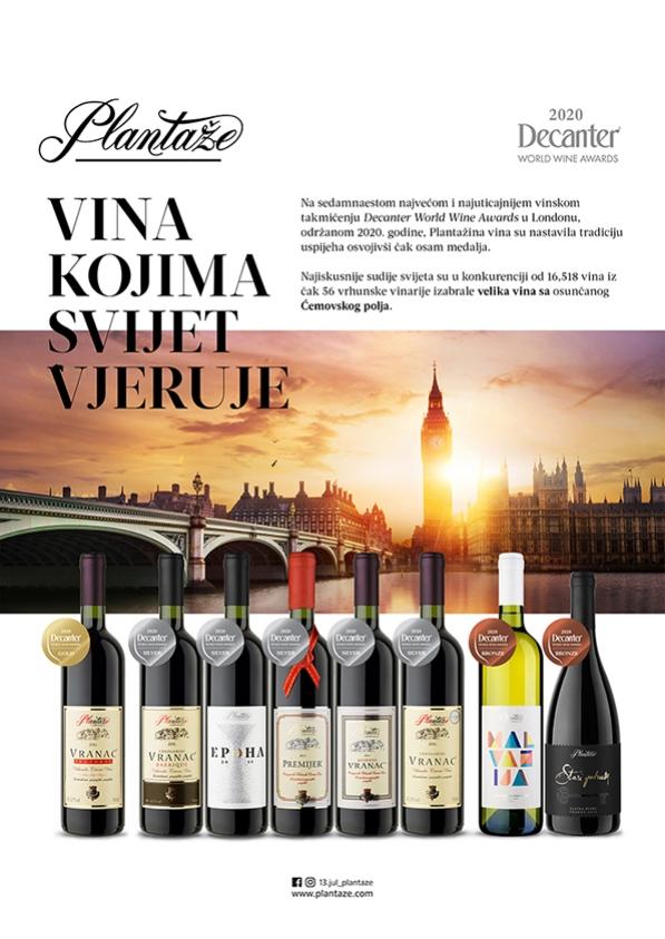 Ponovljen veliki uspjeh i brojne medalje za vina Plantaža na Decanteru 2020.